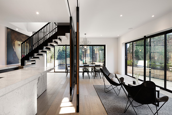 East Gallery House, Brighton, Engineered Timber Floor, Feature Staircase, architect  designed, Extension, Renovation