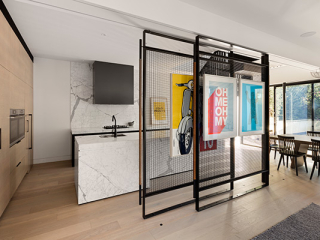 East Gallery House, Brighton, sliding art screens, calacutta marble kitchen, architect  designed, Extension, Renovation