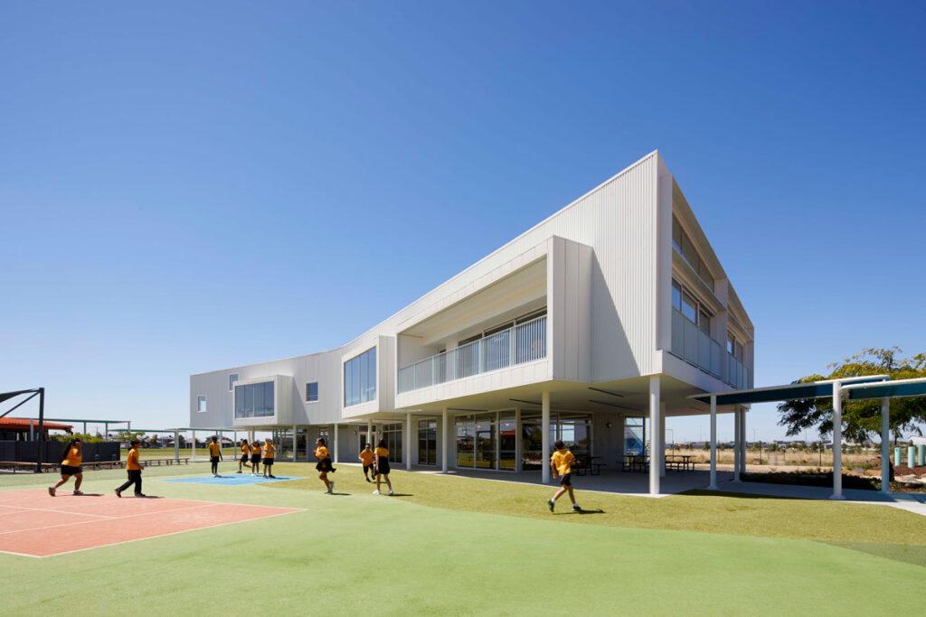 eductation catholic St Clare's learning environment school design ROAM Architects facade architecture colorbond surfmist
