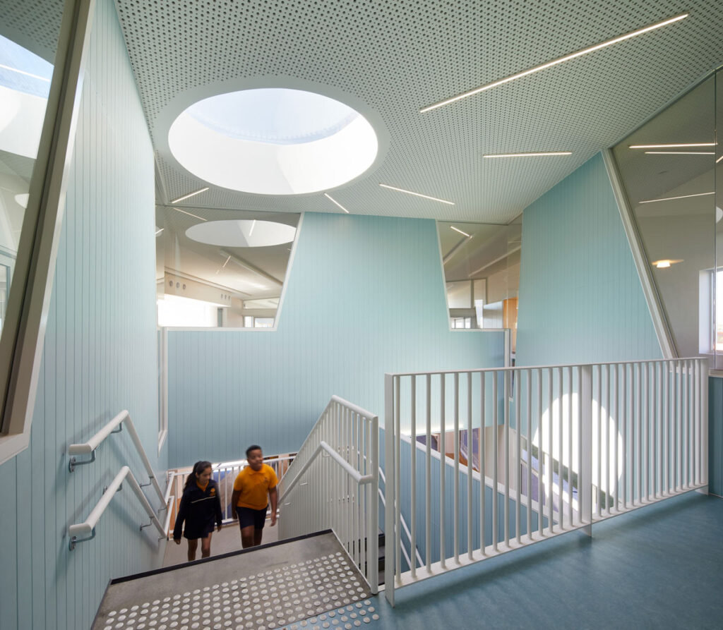 eductation catholic St Clare's learning environment school design ROAM Architects central staircase