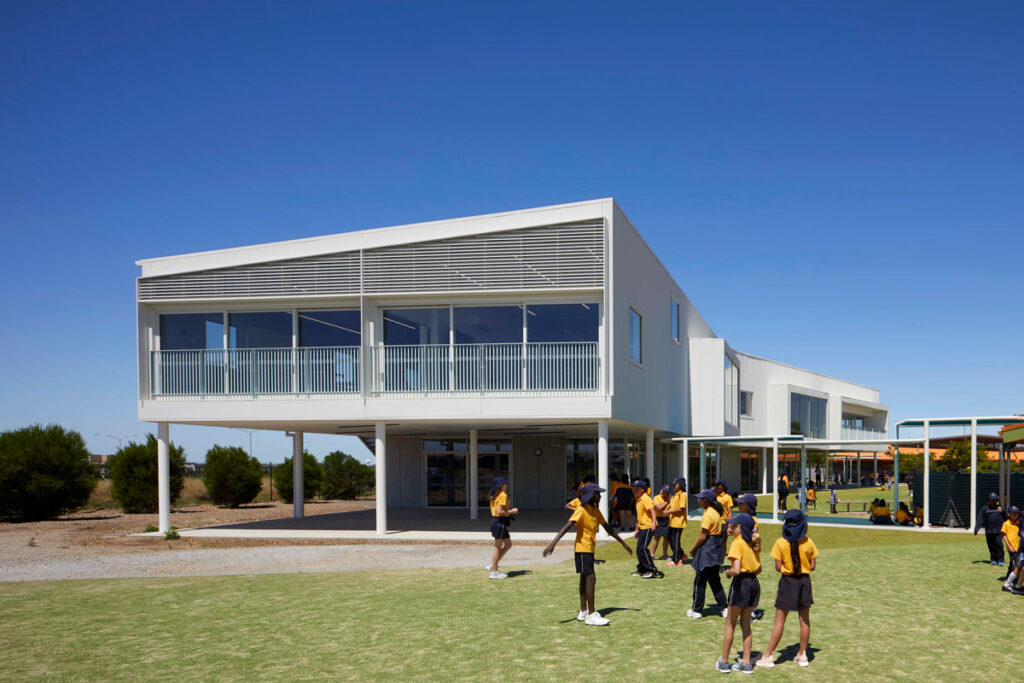 eductation catholic St Clare's learning environment school design ROAM Architects north facade colorbond