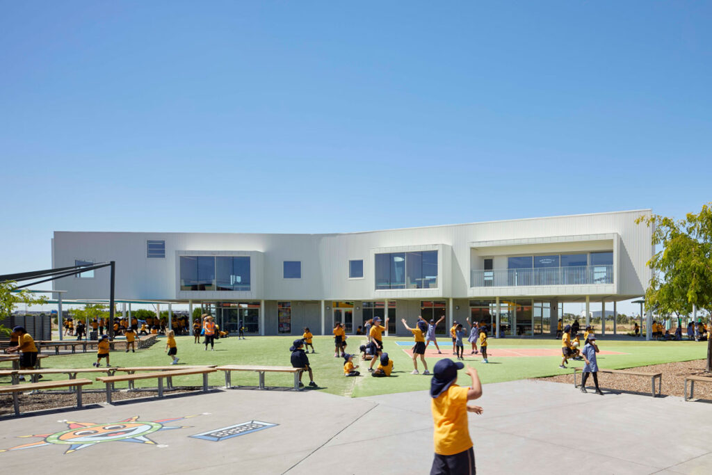 eductation catholic St Clare's learning environment school design ROAM Architects facade and playspace colorbond