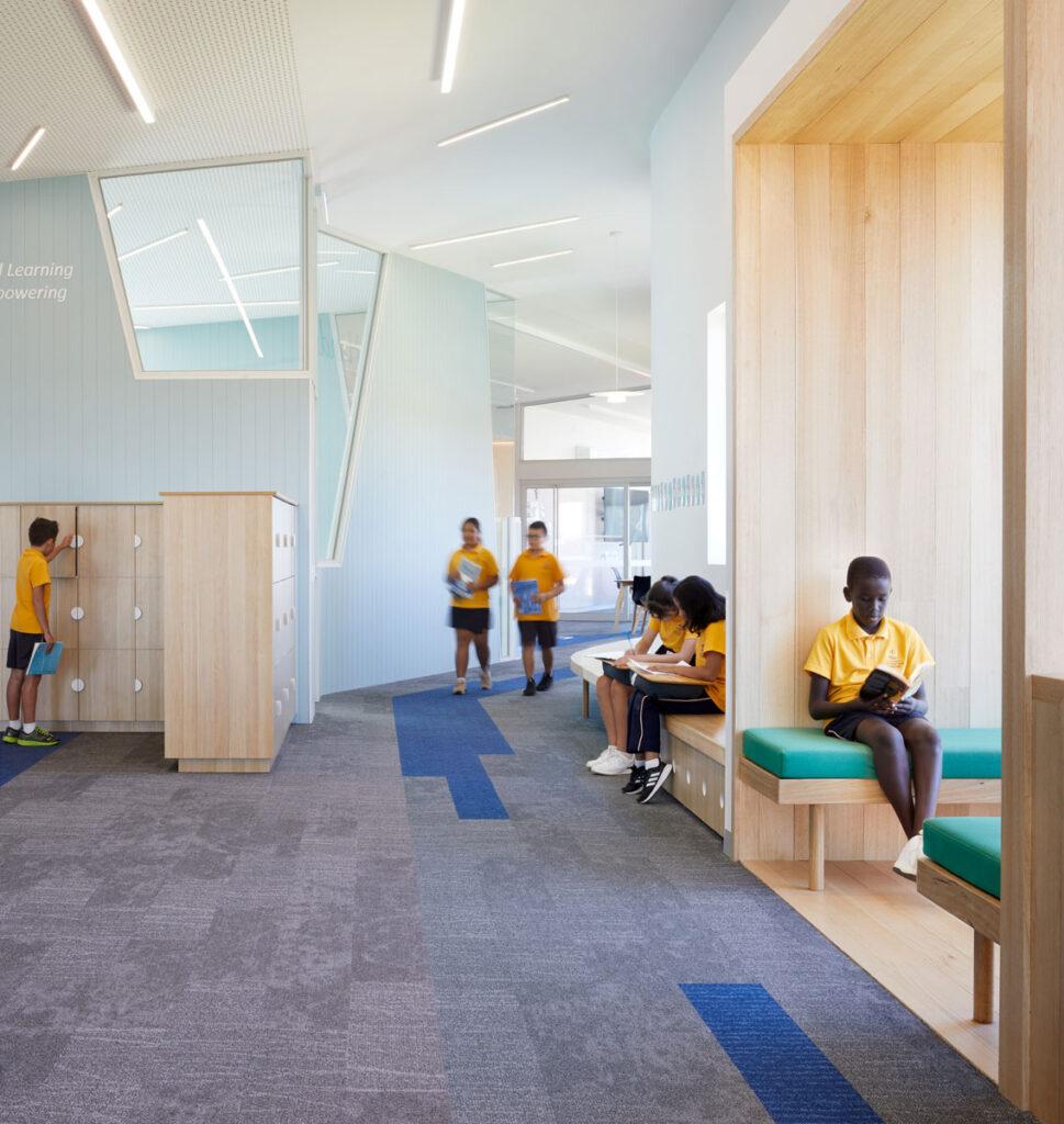 eductation catholic St Clare's learning environment school design ROAM Architects study nooks bag store