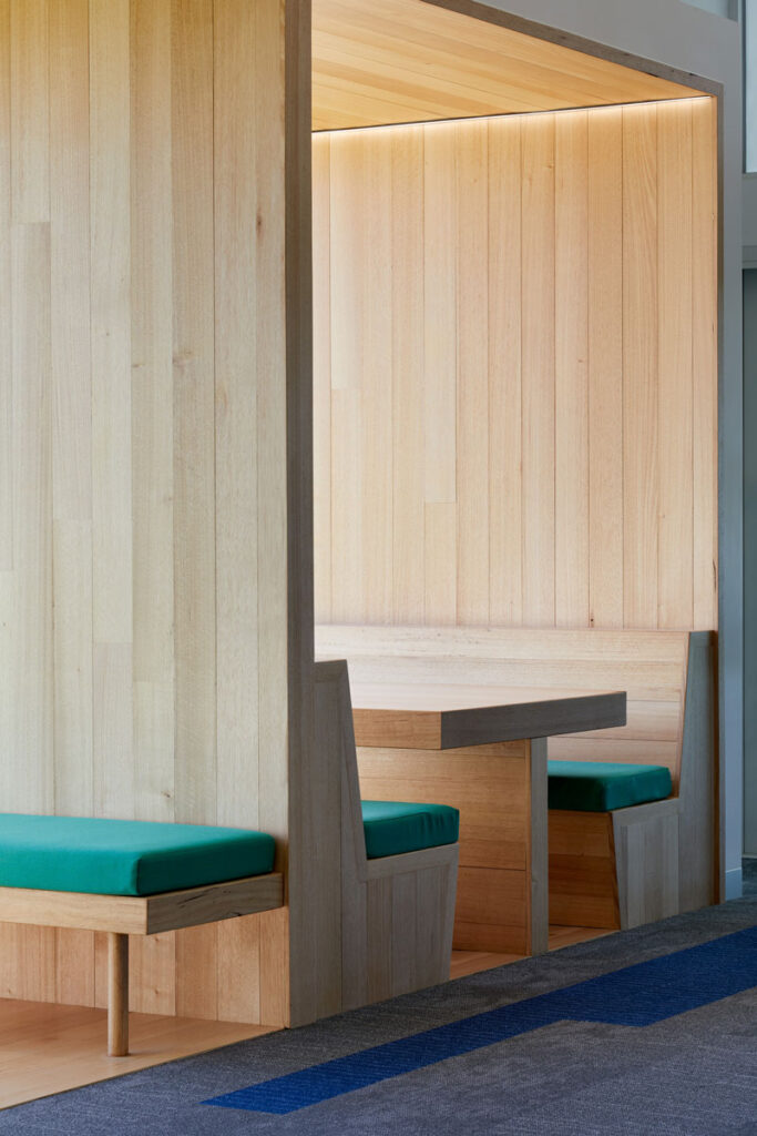 eductation catholic St Clare's learning environment school design ROAM Architects learning nook vic ash timber lining