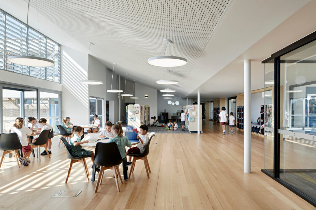 Catholic School Learning Environments Timber Floor Library Discovery Centre Lighting