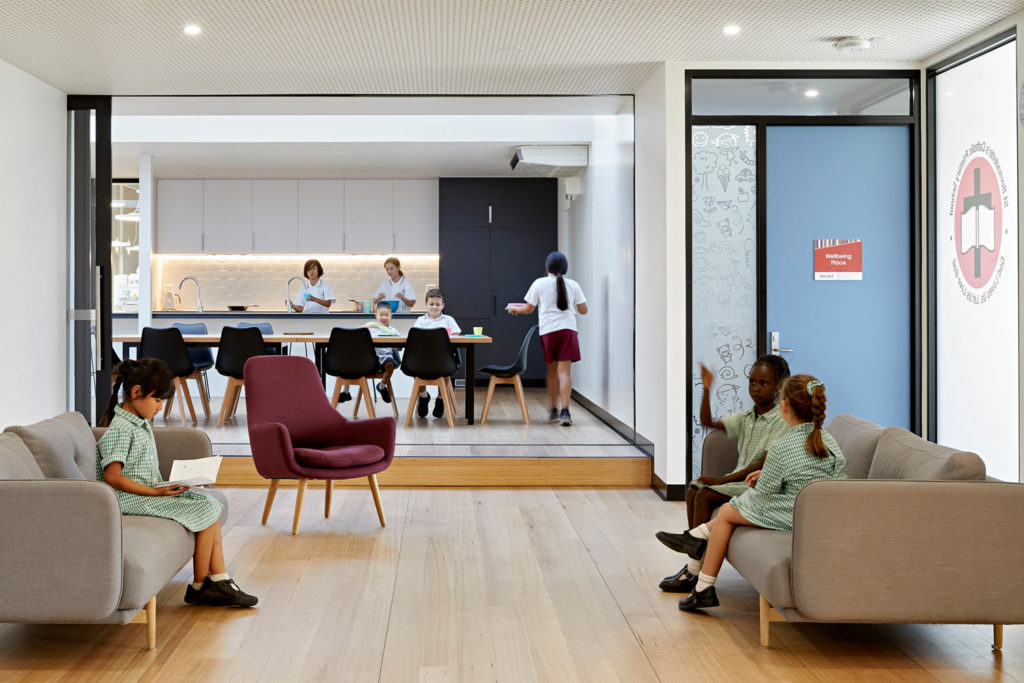 Catholic School Learning Environments Architecture Timber Floor Kitchen Cooking